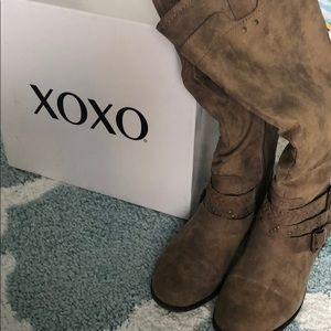 XOXO tan embellished boots